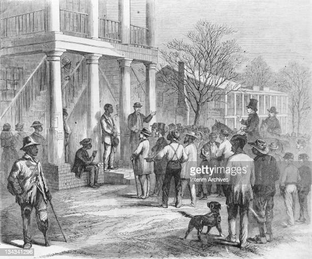 Copy of an illustration showing a free black man being sold to pay his fine in Monticello Florida 1867 The sketch illustrates events which happened...