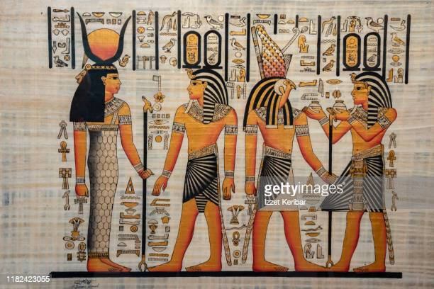 copy of an old papyrus seen in a souvenir shop in cairo egypt - egypt stock pictures, royalty-free photos & images