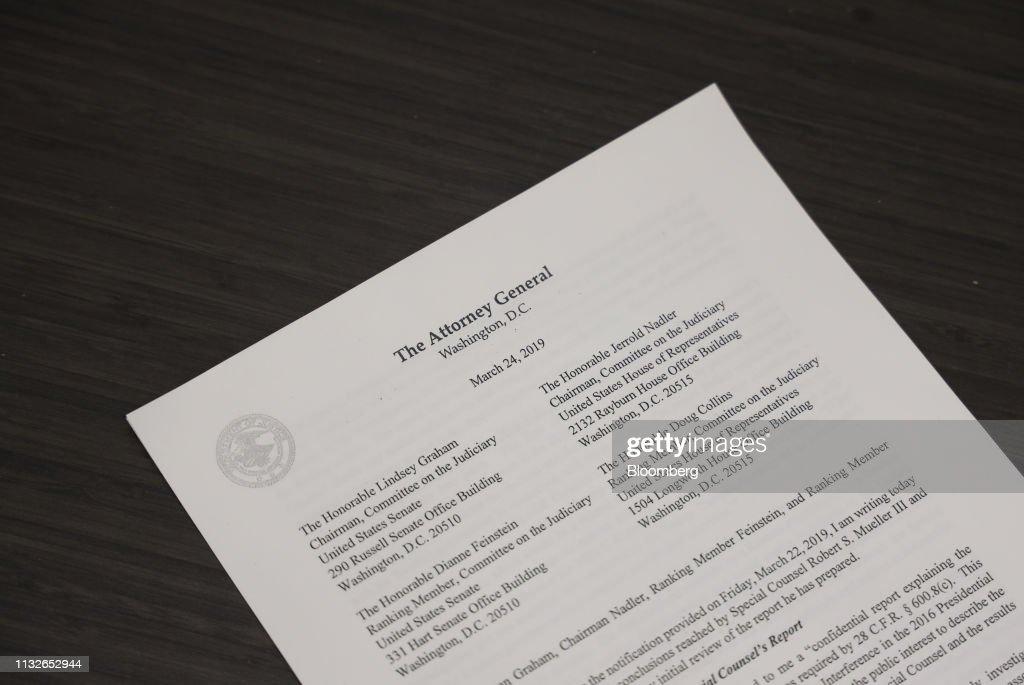 DC: Barr Delivers Letter To Congress Regarding Mueller's Trump Report