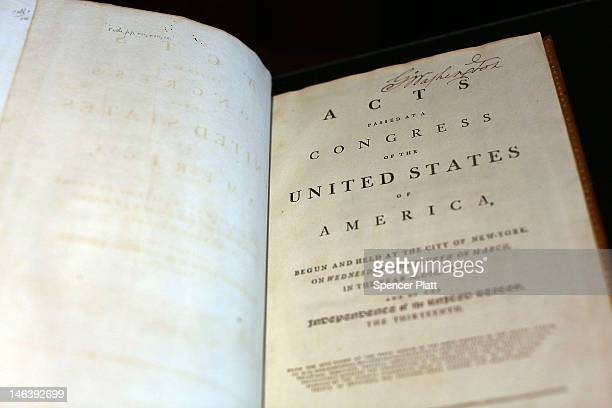 A copy of former President George Washington's personal copy of the Constitution and Bill of Rights is viewed at Christie's auction house on June 15...