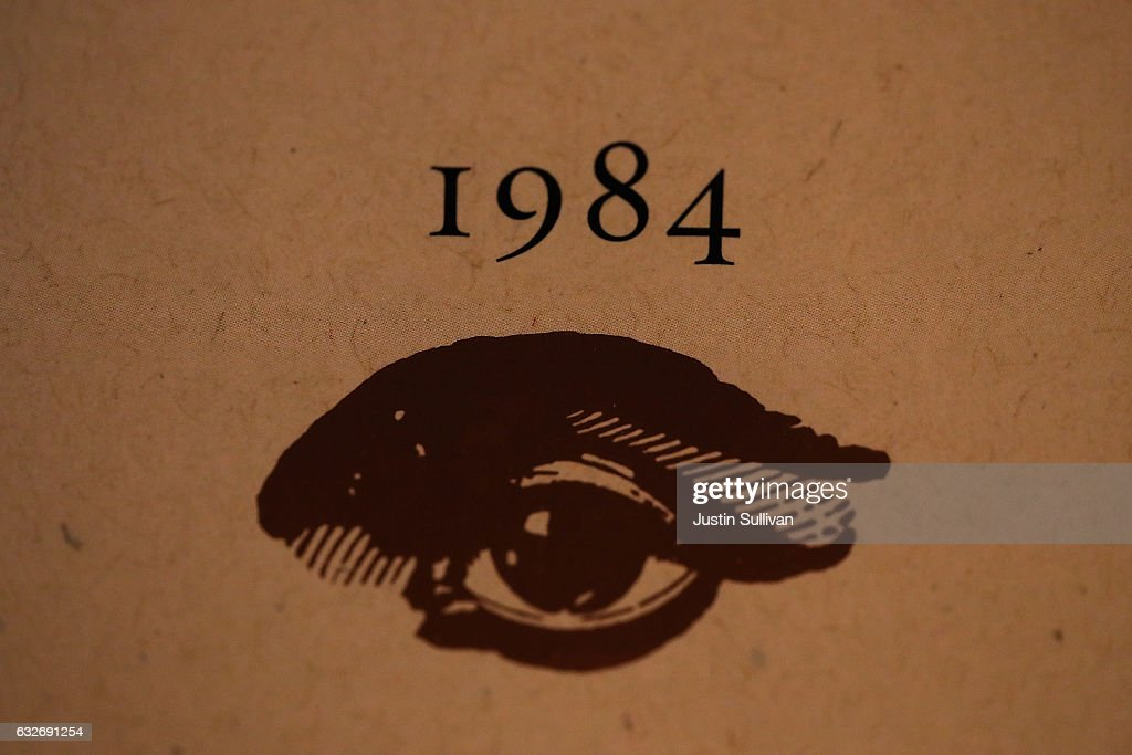 A copy of George Orwell's novel '1984' sits on a shelf at The Last Bookstore on January 25, 2017 in Los Angeles, California. George Orwell's 68 year-old dystopian novel '1984' has surged to the top of Amazon.com's best seller list and its publisher Penguin has put in an order for 75,000 reprints.