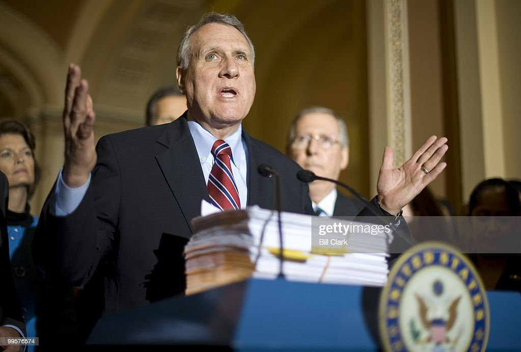 A copy of H.R. 3962, the House's health care reform bill, sits atop the podium as Senate Minority Whip Jon Kyl, R-Ariz., speaks during the Senate Republicans' news conference following their policy lunch on Tuesday, Nov. 17, 2009.