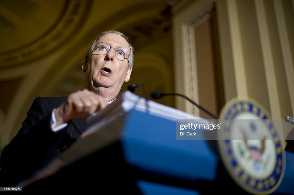 A copy of H.R. 3962, the House's health care reform bill, sits atop the podium as Senate Minority Mitch McConnell, R-Ky., speaks during the Senate Republicans' news conference following their policy lunch on Tuesday, Nov. 17, 2009.