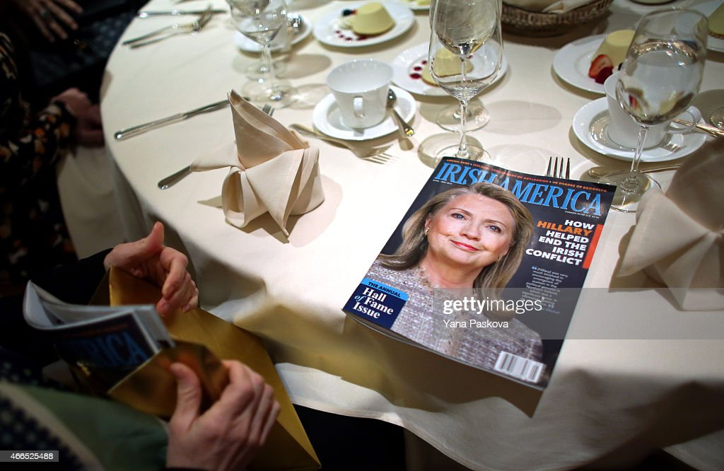 A copy of Irish America magazine features a cover of former Secretary of State Hillary Clinton before she is inducted into the Irish America Hall of Fame on March 16, 2015 in New York City. The Irish America Hall of Fame was founded in 2010 and recognizes exceptional figures in the Irish American community.