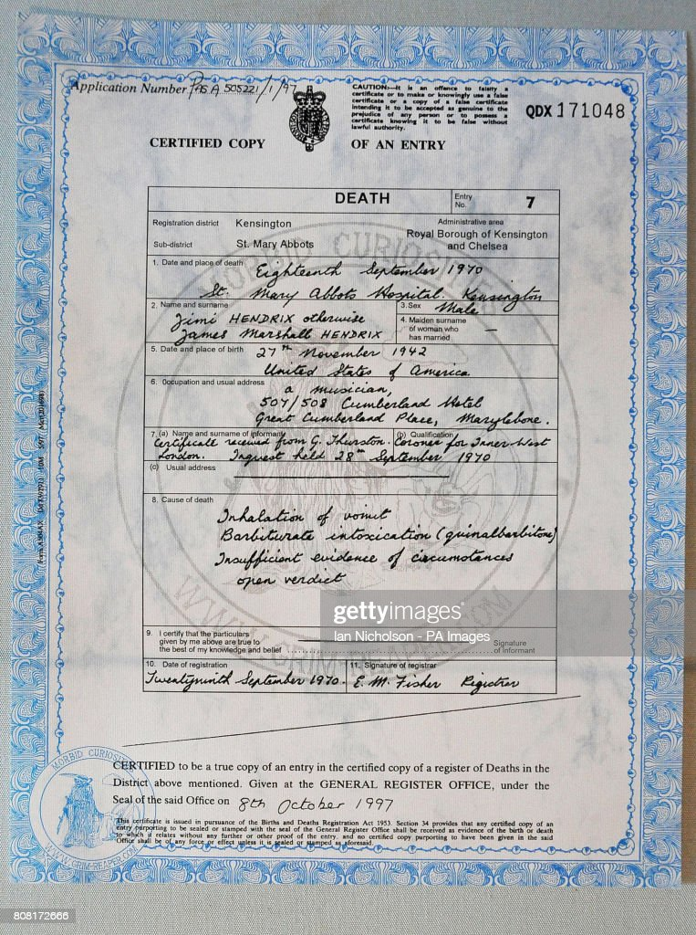Death Certificate Stock Photos and Pictures | Getty Images