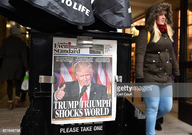 A copy of London's Evening Standard newspaper featuring a photograph and story about US Presidentelect Donald Trump on the front page is displayed...