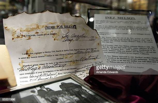 A copy of Marilyn Monroe's death certificate is displayed at the Hollywood Museum on August 5 2005 in Hollywood California A group of Monroe's...