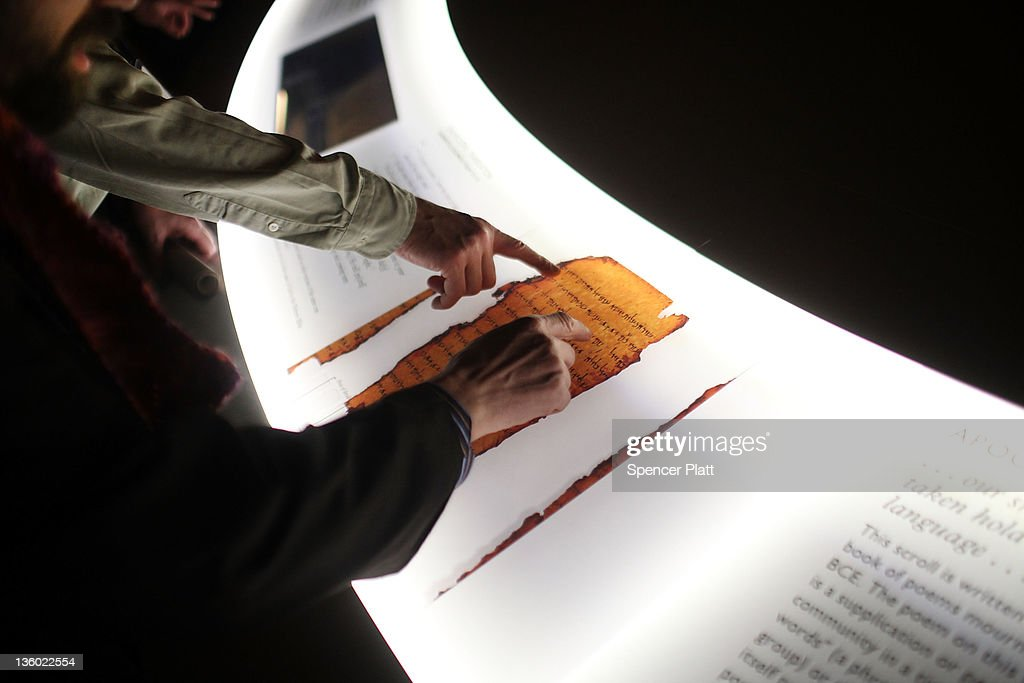 Oldest Parchment Of The Ten Commandments On Display In Times Square : News Photo