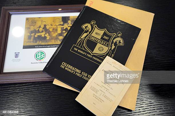 A copy of 'Rules Regulations and Law' from the English football team Sheffield FC pictured at the headquarters of the German Football Association on...