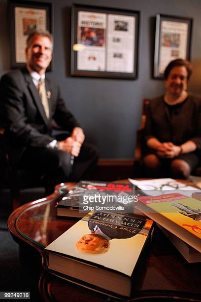 "Copy of Sen. Ted Kennedy's ""True Compass"" sits on the table as Sen. Scott Brown meets with U.S. Solicitor General and Supreme Court nominee Elena..."