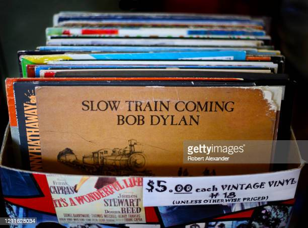 Copy of singer-songwriter Bob Dylan's 'Slow Train Coming' album, released in 1979 by Columbia Records, for sale in an antique shop in Santa Fe, New...