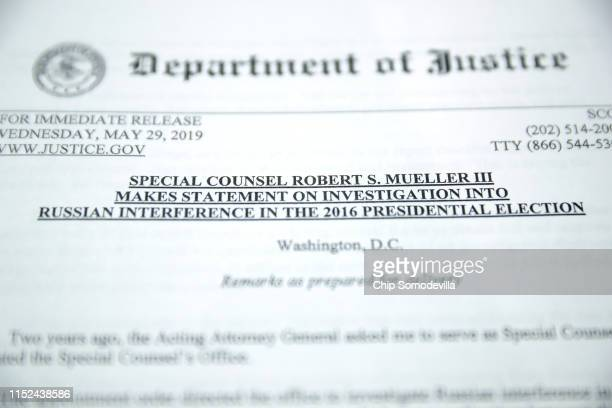 A copy of Special Counsel Robert Mueller's statement about the Russia investigation is made available to reporters on May 29 2019 at the Justice...