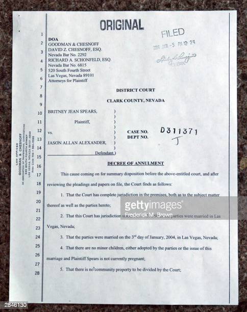 Copy of the affidavit for annulment of marriage for recording artist/bride Britney Spears and groom Jason Allen Alexander on file at the Family...