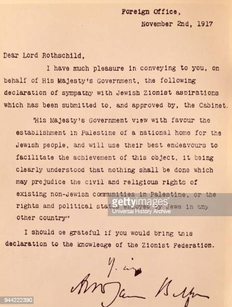 Copy of the Balfour Declaration was a public statement issued in 1917 by the British government during World War One announcing support for the...