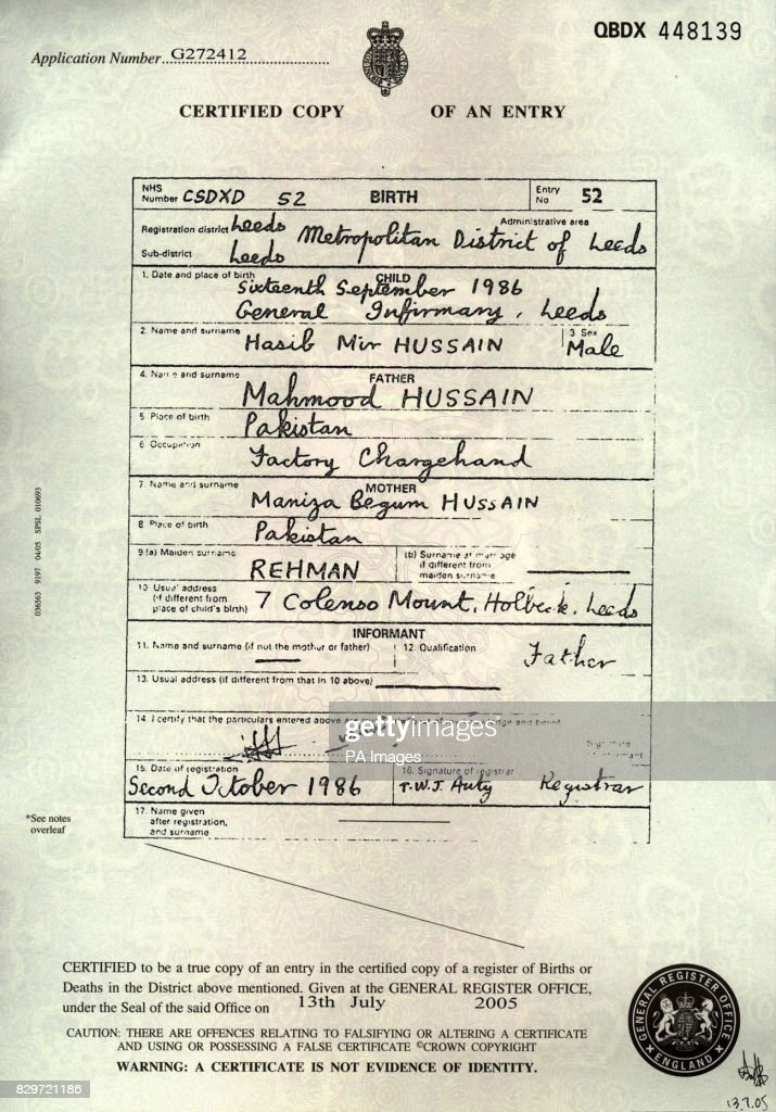 Copy Of The Birth Certificate Of Hasib Hussain From The Leeds Suburb