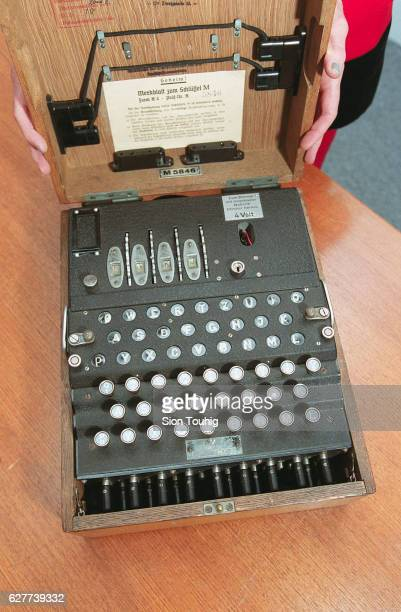 A copy of the bizarre ransom note for the stolen Enigma code machine which was taken from Bletchley Park here with another original wartime code...