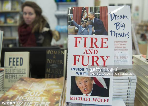 A copy of the book 'Fire and Fury Inside the Trump White House' by Michael Wolff sits on display at a bookstore in Washington DC on January 5 2018...