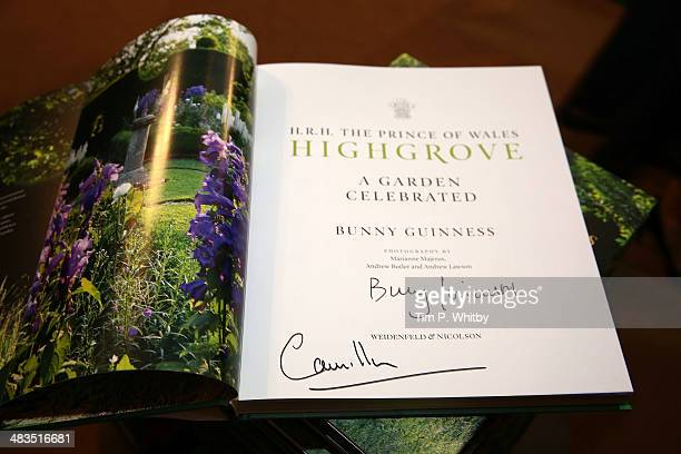 A copy of the book 'Highgrove' signed by Camilla Duchess of Cornwall during an official visit to The London Book Fair by at Earls Court on April 9...
