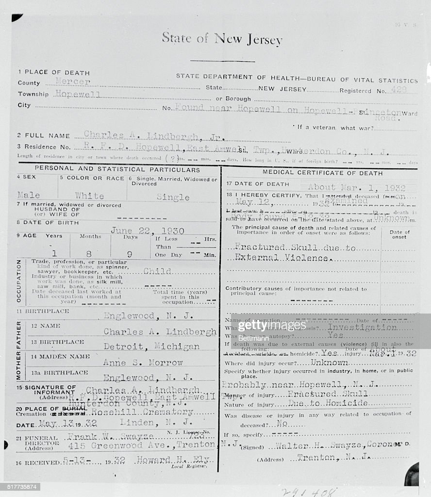 Baby lindberghs death certificate pictures getty images a copy of the death certificate issued after the body of the kidnapped lindbergh baby had aiddatafo Choice Image