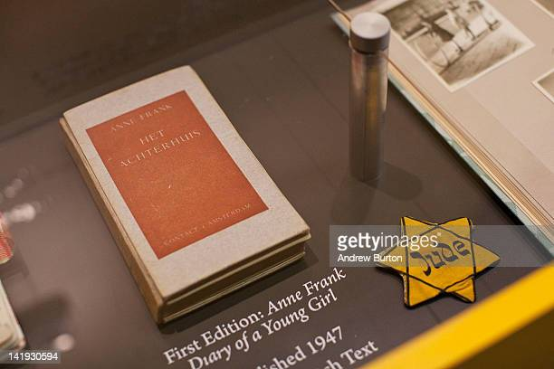 A copy of the first edition of Anne Frank Diary of a Young Girl is seen on display at the Anne Frank Center USA on March 26 2012 in New York City The...