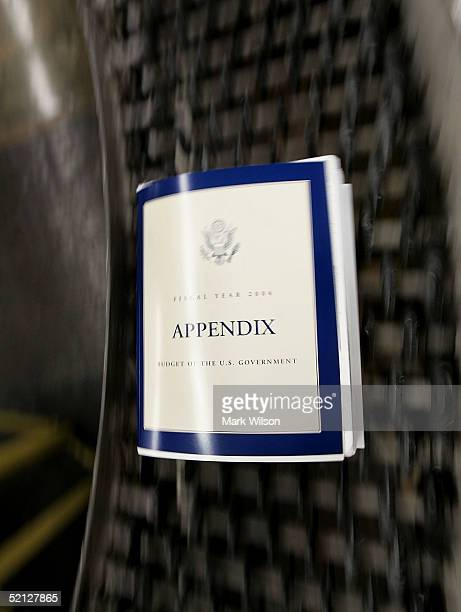 A copy of the fiscal year 2005 budget comes out of a binding machine at the Government Printing Office February 3 2005 in Washington DC President...