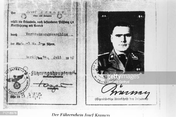 Copy of the identification card of Josef Kramer commander of BergenBelsen concentration camp and a nazi war criminal Berlin Germany July 14 1942