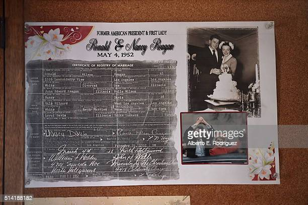 A copy of the marriage license on display at Little Brown Church in the Valley where Ronald Reagan married Nancy Wilson on May 4 1952 on March 7 2016...