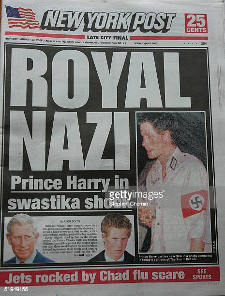 A copy of the New York Post front page lies on display featuring a Royal Nazi headline January 13 2005 in New York City British royal Prince Harry...