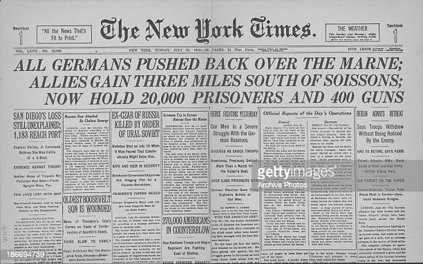 A copy of The New York Times newspaper with the headline 'All Germans pushed back over the Marne' printed during World War One United States of...