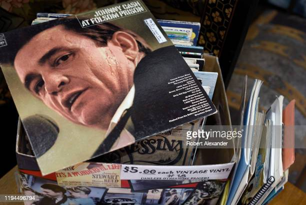 Copy of the record album, 'Johnny Cash at Folsom Prison', for sale at an antique shop in Santa Fe, New Mexico. The vinyl record was released by...