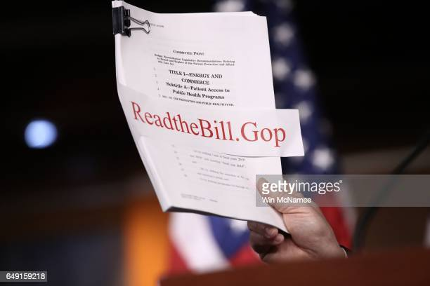 A copy of the Republican plan to replace the Affordable Care Act is show during a news conference at the US Capitol March 7 2017 in Washington DC...