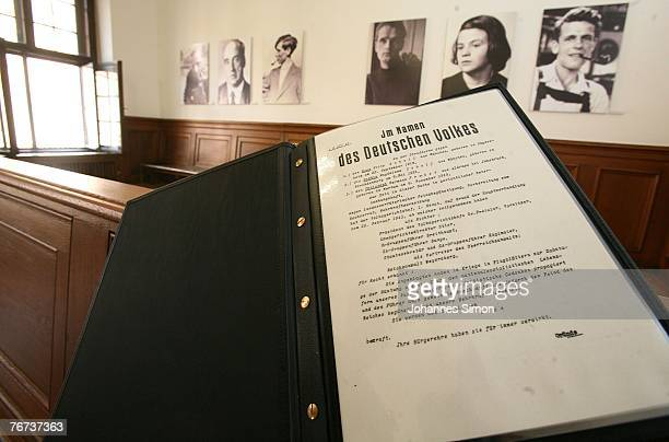 A copy of the sentences against Willi Graf Kurt Huber Alexander Schmorell Hans Scholl Sophie Scholl and Christoph Probst is displayed at the recently...