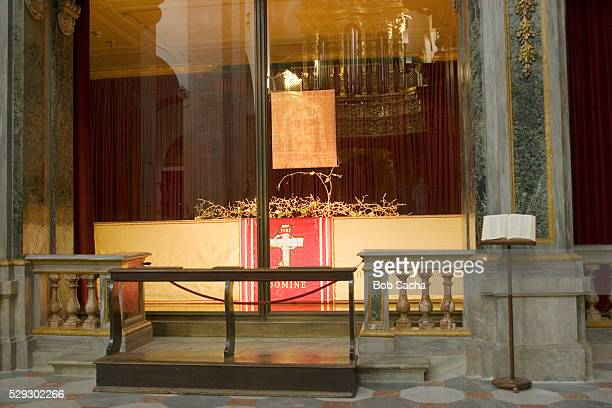 Copy of the Shroud of Turin Hangs in Window