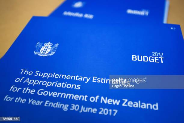 A copy of The Supplementary Estimates of Appropriations on display during the printing of the budget at Printlink on May 23 2017 in Wellington New...