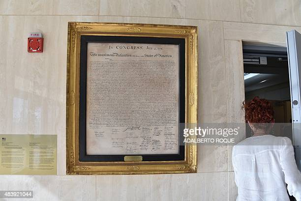 A copy of the United States' Declaration of Independence hangs on a wall at the US embassy in Havana the former US Interest Section on August 7 2015...