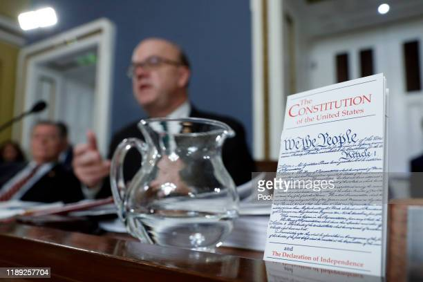 Copy of the U.S. Constitution is displayed as House Rules Committee chairman Rep. Jim McGovern speaks during a House Rules Committee hearing on the...