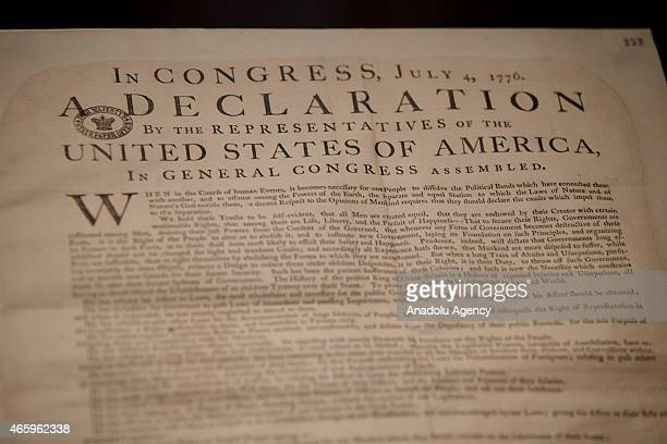 A copy of the US Declaration of Independence is seen at 'Magna Carta Law Liberty Legacy' exhibition which opens at the British Library in London...