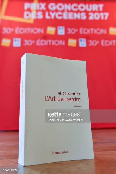A copy of the winning novel 'The Art of Losing' by French writer Alice Zeniter is displayed during the Prix Goncourt des Lyceens award ceremony in...