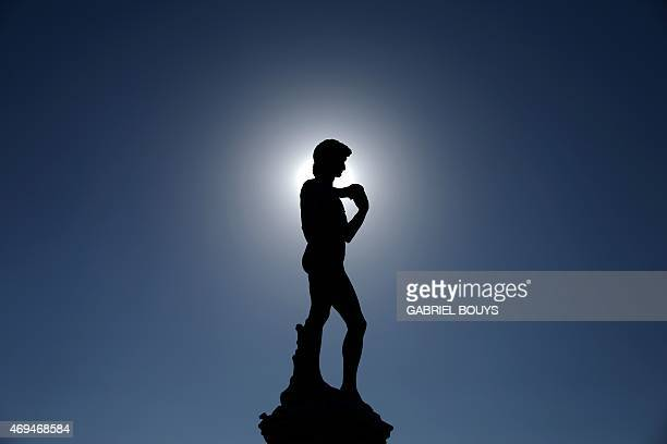 A copy of the16th century statue of David by Italian artist Michelangelo Buonarroti is silhouetted in Piazza Michelangelo on April 8 2015 in Florence...