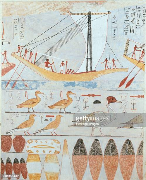 Copy of wall painting from a private tomb of Kaemankh Giza boat birds and jars 20th century Framed