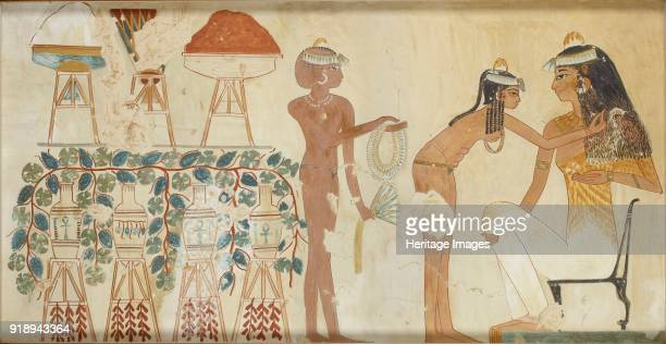 Copy of wall painting from private tomb 38 of Djeserkeresonb, Thebes woman performing toilet, 20th century. Mounted on card.