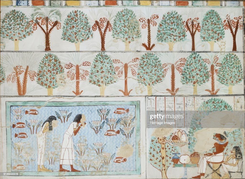 copy of wall painting from private tomb 63 of sebkhotpe thebes man