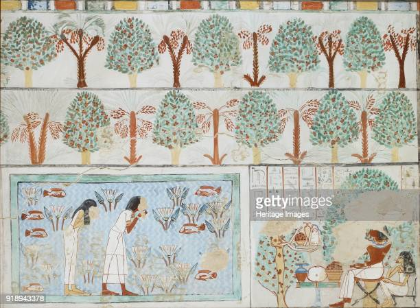 Copy of wall painting from private tomb 63 of Sebkhotpe Thebes man and wife in garden 20th century Framed