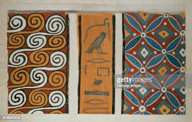 Copy of wall painting from private tomb 82 of Amenemhet Thebes six ceiling patterns 20th century Mounted