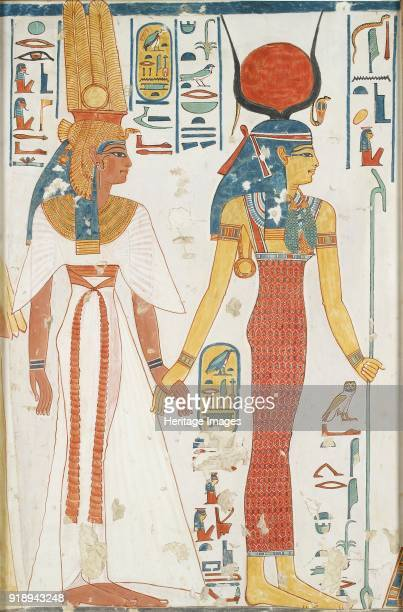 Copy of wall painting from the Queen's tomb 66 of Nefertari Thebes Queen Nefertari and the goddess Isis 20th century Framed