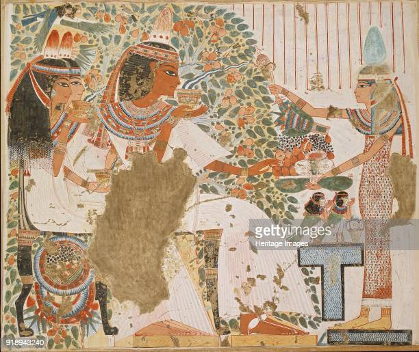 Copy of wall painting private tomb 51 of Userhet Thebes deceased with wife and mother under tree 20th century Framed