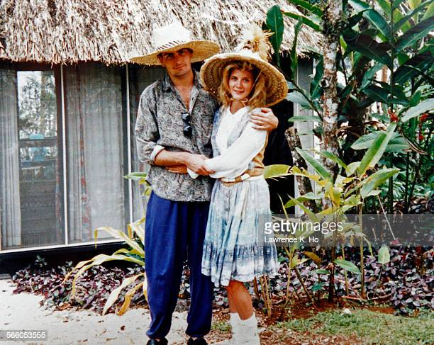 Copy photo of Charlie Sheen with Porn star Ginger Lynn during their vacation to Namale Plantation Resort in the Fiji Islands in 1992. Porn star...