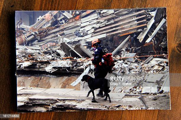 Copy Photo of Dog handler Ann Wichmann and Jenner arriving at Ground Zero in September of 2001 Her home and training facility Jenner's Run in Otis CO...