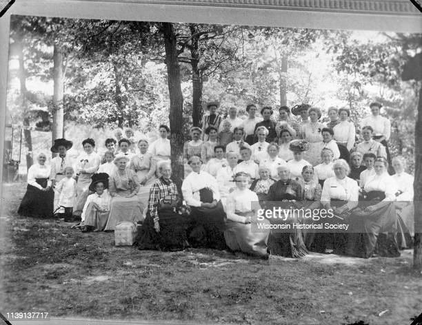 Copy photograph of a large group of women at Rock Springs Park Black River Falls Wisconsin 1910