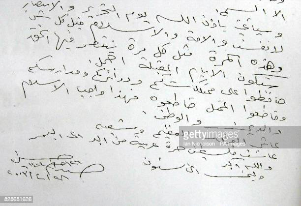 A copy picture made of a handwritten letter supposedly signed by Saddam Hussein and urging the Iraqi people to resist coalition forces has been...